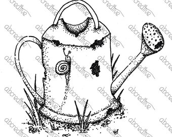 Old Watering can vintage lineart
