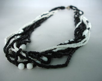 Black & White Multilayered Seed Bead Necklace -  Fashion Jewelry - Summer Necklace - Multistranded - Beaded - Gift Idea