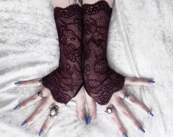 Nissa Long Lace Fingerless Gloves | Dark Mahogany Brown Floral Ornate Embroidered | Gothic Wedding Fetish Tribal Bellydance Mehndi Goth Mori