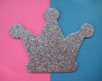 Silver Crown Glitter Padded for Crown Party, Birthday Party Center Pieces, Embellishment, Baby Shower, 10 pieces