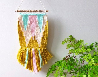 Woven wall hanging miniature in mint green, pale pink, mustard yellow and cream/ wall tapestry art/ weaving/ home decor/ nursery decor