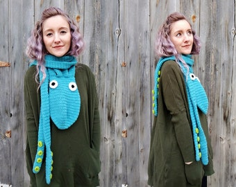 octopus scarf, unique gift, gift for her, octopus, squid, huge scarf, chunky scarf, animal scarf, novelty scarf, knit scarf, crochet scarf