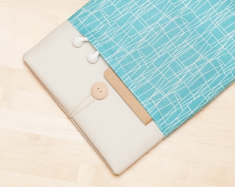 Surface Pro Case, Microsoft Surface sleeve, Surface Laptop Cover, Surface Pro 4 Case, padded with pockets - Web aqua cream
