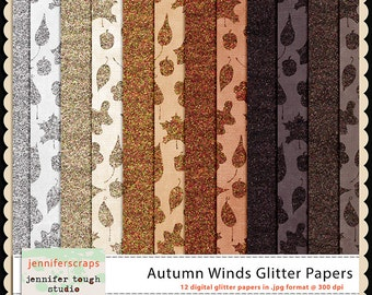 Instant Download - Set of 12 digital papers - Autumn Winds Glitter Papers
