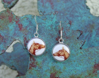 Equestrian Horse Head Enamel Earrings Sterling Silver,Horse Earrings,Equestrian Jewelry