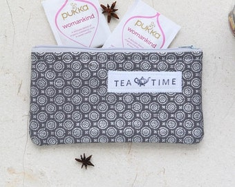ON SALE Tea wallet, Travel Tea bag holder, Fabric Tea bag wallet, zippered pouch, Tea bag holder, Tea Accessories, Tea Lover eco gift by Sai
