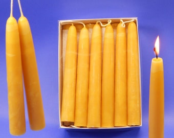 """Beeswax Tapers, 9 Pair of 3/4"""" x 6"""" Hand Dipped Candles, Box of 18 Beeswax Tapers, Emergency Candles, Pure Beeswax Candles, Dining Candles"""