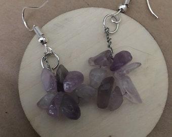 Seven chip purple flourite ring earrings