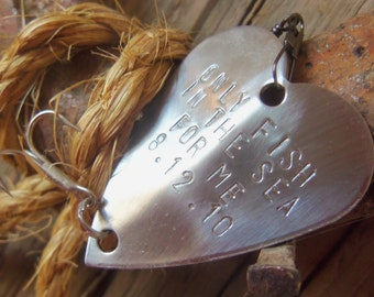 5th Anniversary Personalized Fishing Lure Engraved Anniversary Birthday Soldier Husband Handstamped Fifth Wedding Anniversary Gift Mens Gift