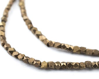 190 Antiqued Brass Diamond Cut Beads: Faceted Cube Beads Faceted Brass Beads Boho Brass Beads 2mm Cornerless Cubes (MET-CUB-BRS-603)