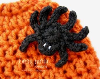 CROCHET PATTERN - Simple Spider Appliqué - Motif - Embellishment - PDF 207