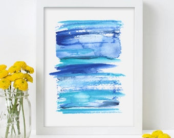 Blue Contemporary Art Watercolor Painting Original Abstract Art Print  - Stripe 2