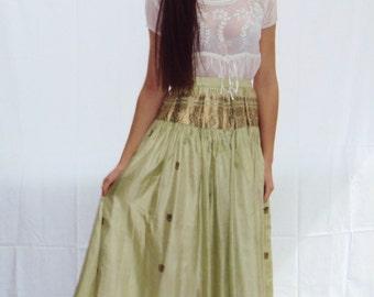 Indian silk maxi skirt / metallic Silk Maxi Skirt / Celadon Green / small / medium
