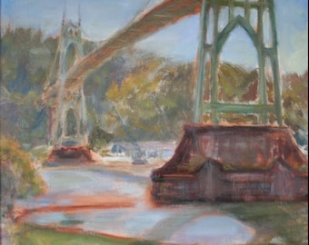 Afternoon in St. Johns, Print of Original Impressionist Oil on Canvas Painting