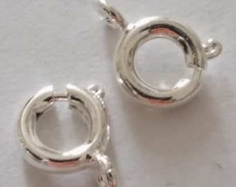 25 Round Spring Clasps - Silver Plated - 10x6mm - Jewelry Findings - Jewelry Clasps - Bracelet Clasps - Necklace Clasps - B04556