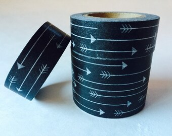 10m - Black and White Arrows - Washi Tape - Japanese Tape - Wedding Reception Favors - Smash Book - Scrapbooking Supplies