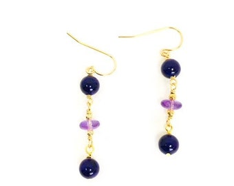 Amethyst Earrings, Purple Earrings, Gold Filled Drop Earrings, Amethyst Earrings, Bridesmaid Gift, Wedding Jewelry, Anniversary Gift