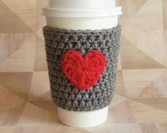 Heart Cozy - Coffee Cozy Grey with Red Heart - Cup Sleeve - Teacher Gift