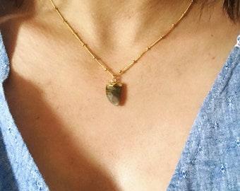Labradorit Zahn Kette, Spike Punkt Satelietenkette, Boho Gypsy Nomad Schmuck, gold filled Halskette