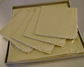 Vintage Midcentury Tea Set, Tablecloth and Four Cotton Napkins, by Kaye Walt, Ecru Tan Color with Crocheted Lace Corners in Original Box
