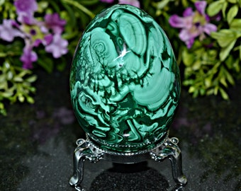 Natural Malachite Crystal Egg 69 MM, Natural Malachite Crystal