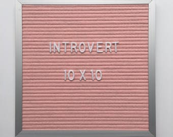 "10x10"" Introvert Letter Board - Aluminum Frame Letter Board with Pink Felt - Messenger Board - Felt Board with 290 Letter Set"