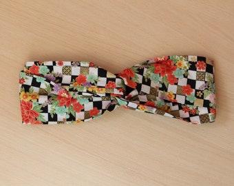 Floral checkerboard striped headband