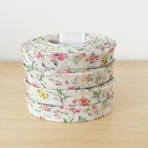 "Kaufman Sevenberry Petite Garden floral Cotton 1/2"" double-fold bias tape- 3 yard roll"