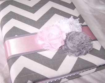 Pink Baby Shower Guest Book / Light Pink and Gray Baby Shower Guest Book / Baby Girl Shower / Chevron Guest Book / Pink Baby Shower Decor