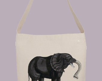 Vintage Primitive Elephant Illustration from 1500s - Hobo Sling Tote, 14.5x14x3, Crossbody Strap, Magnetic Closure, Inside pocket
