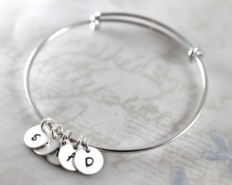 Mother's Day gift, Initial charm bracelet, expandable bangle bracelet custom hand stamped, handmade mother gift bracelet