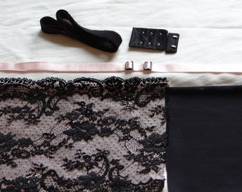 "Black & Peach French Lace ""Bouquets""  Bra Kit (Strong)"
