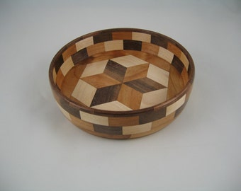 segmented wood candy dish