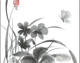 """Digital Download """"Butterfly and flowers"""", Ink Brush, Ink Drawing, Asian art, Wall art, Minimalist, Japanese Art, Sumi-e, gift for her"""