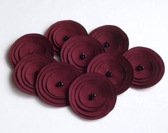 Handmade Dark Red Fabric Poppies Embellishment