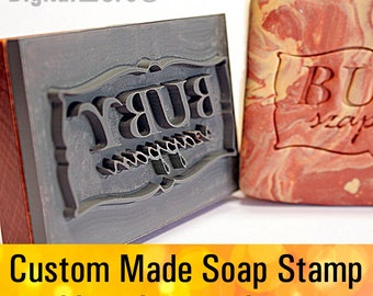 "Custom made  SOAP STAMP, personalized cookie stamp, soap mold seal resin DIY handmade under 3"" - seifenstempel"