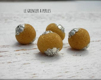 Handcrafted 12 x 8 mm X 2 mustard color beads