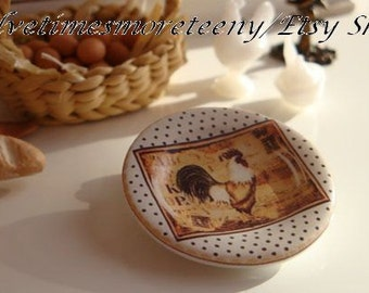 Country Rooster White & Black Dots Dollhouse Miniature Plate in 1:12 Scale
