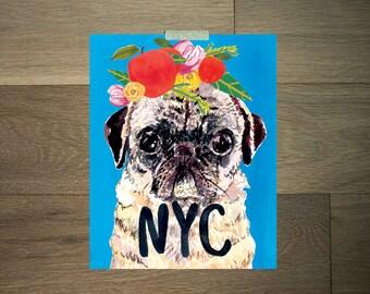 Watercolor pug print - 8 x 10 - black and white - NYC- big apple - green - flower crown - modern art