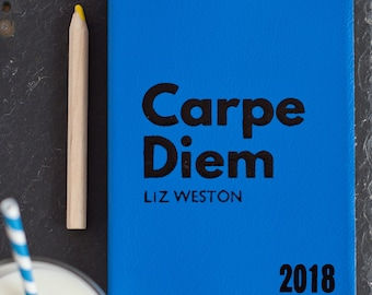 Carpe Diem - personalised leather journal - personalized undated journal - Personalised gift - Made with luxury Italian leather