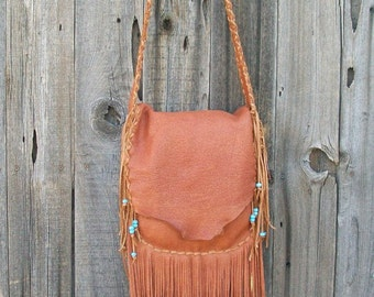 Leather possibles bag ,  Fringed leather crossbody bag ,  Tribal festival bag ,  Man bag