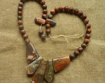 Jasper stone beads 47 * 0.8 4 cm * necklace to make