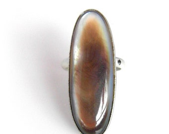 Cross Ring with Champagne Mother of Pearl & Black Diamond, Pearl Cocktail Ring Handmade from Recycled Precious Metals
