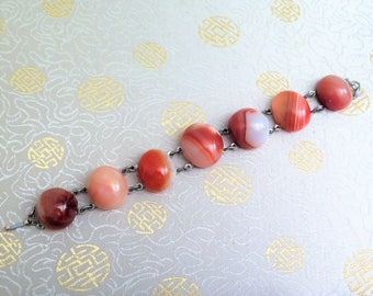 Vintage Scottish Agate Bracelet - Agate Bracelet - Scottish Bracelet - Natural Stone Bracelet - Chunky Bracelet - Tan -  Polished Stone