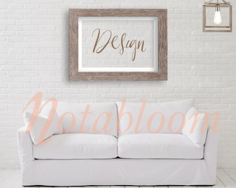 Contemporary & Cozy 26 X 36 Rustic Wood Landscape Frame Mock-Up / Stock Photo / Art Stock Image / Interior Room