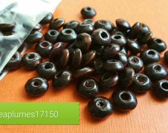 Lot 100 Brown Brown wooden beads, 8x4mm
