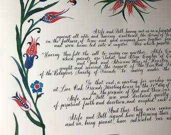 Quaker Marriage Certificate (custom designed)