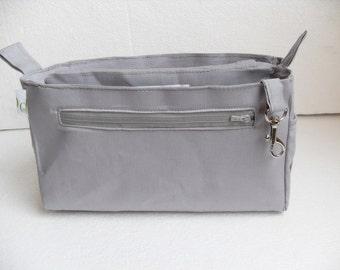 Purse organizer insert / Bag organizer /Handbag organizer in Cement/light gray fabric