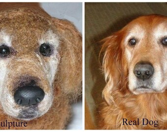Custom Pet Portrait / Your DOG in Miniature / Cute / Handmade Poseable Art Sculpture Personalized gift / example Golden Retriever