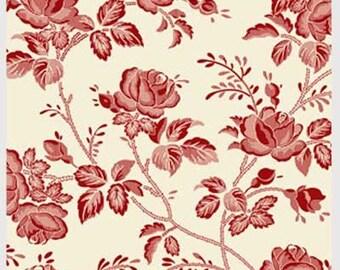 Garibaldi Cotton Fabric Washington Street Rose Floral Etching    BTY